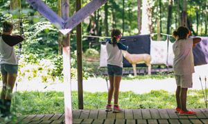 Campers at the archery range