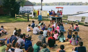 Campers learning the waterfront rules