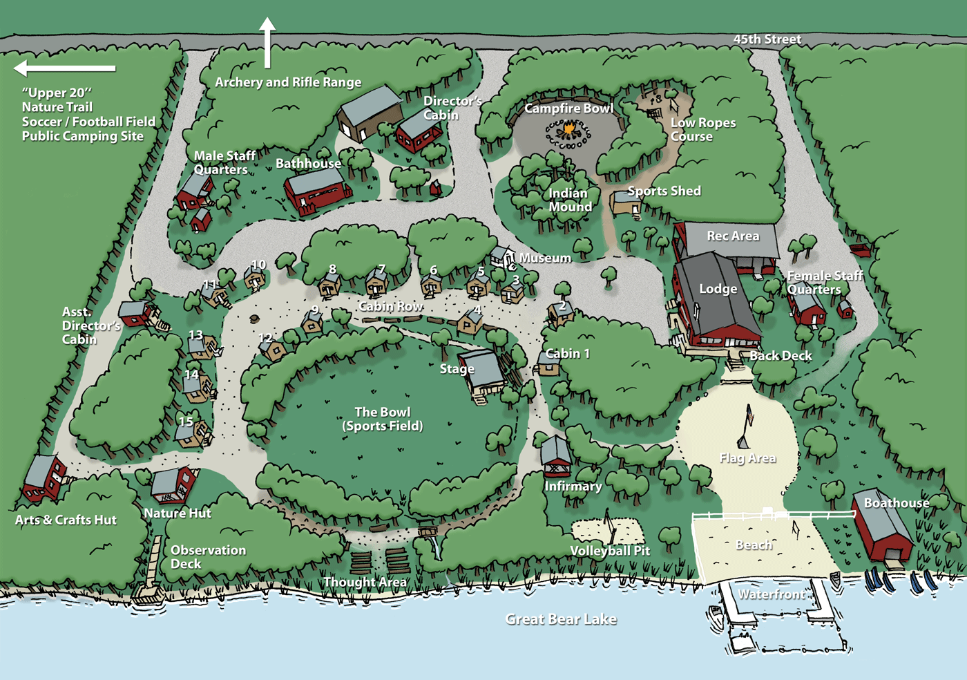 Explore this illustrated map of camp